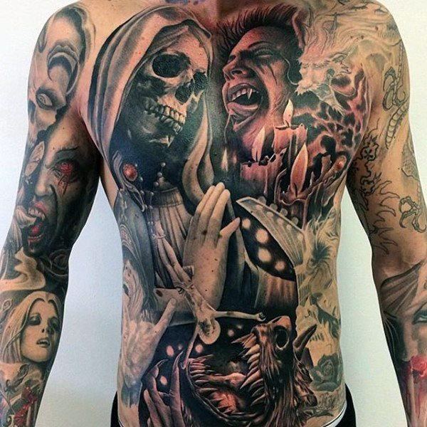 skull abdominal tattoos for guys