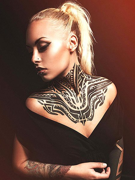 sexy tribal chest tattoos for females ideas