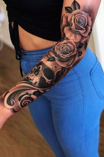 arm rose flower tattoo for ladies