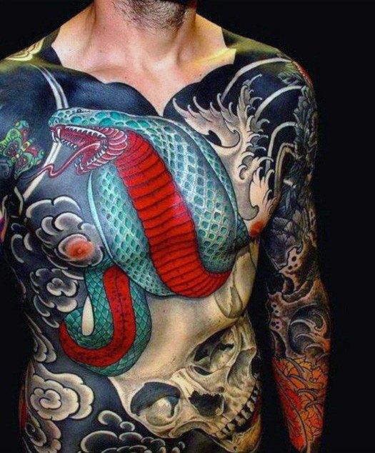 chest snake japanese tattoo designs