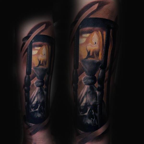 flame tattoo on arm men