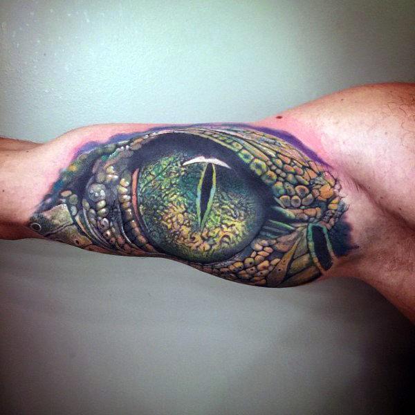 3d lizard tattoo eyes tattoo on arm for guys
