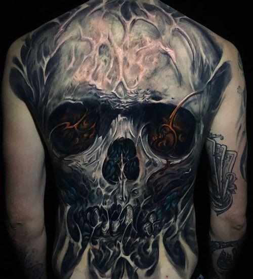 Best skull full back tattoo design ideas