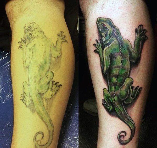 leg green simple lizard tattoo