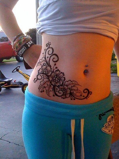 mandala women's tummy tattoos