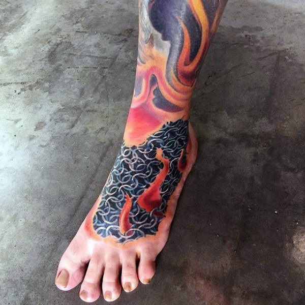 fire temporary tattoos on foot