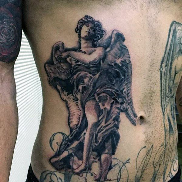 statue belly tattoos male
