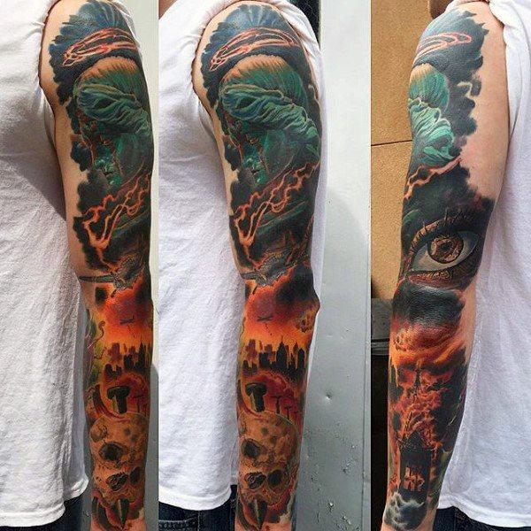 flame tattoo flash on arm