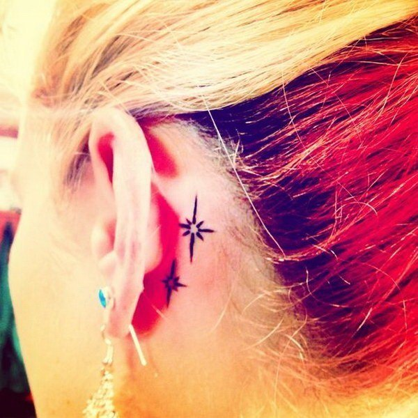 star unique behind the ear tattoos for women design