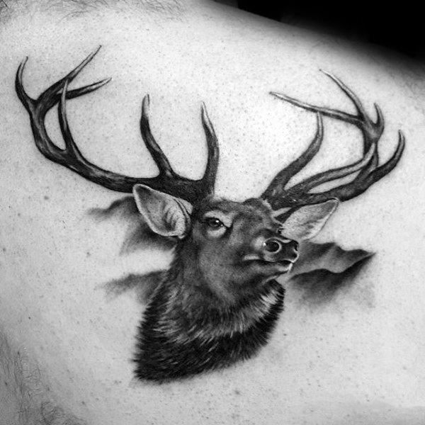 animal portrait upper back tattoo pictures for guys
