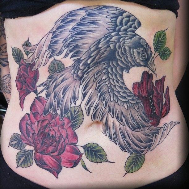 bird sexy stomach tattoos for women