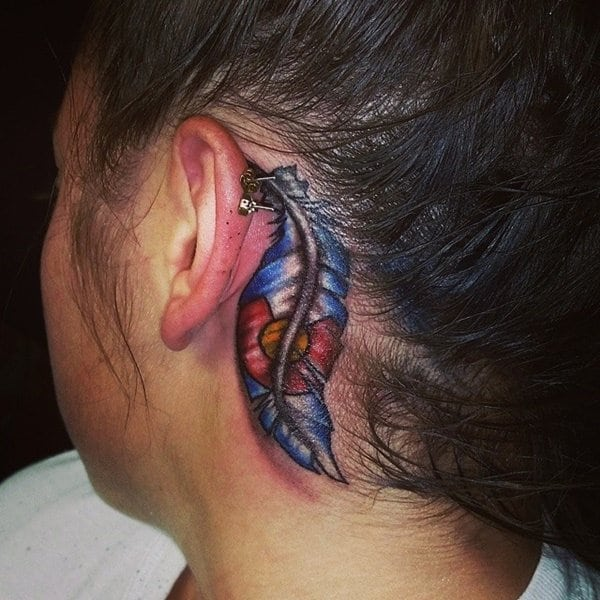 small tattoo ideas behind ear for girls
