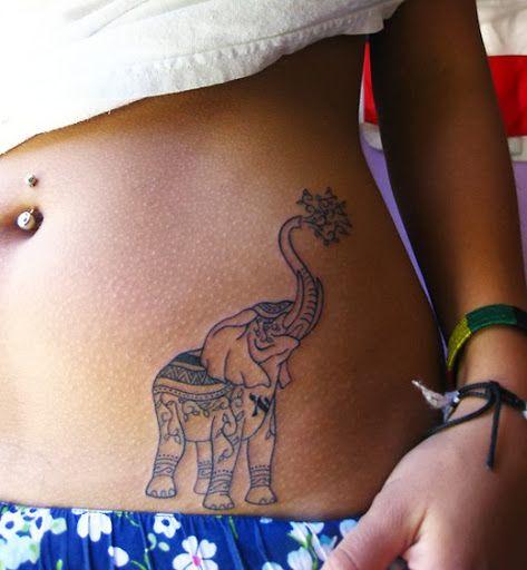 elephant tummy tattoos for ladies