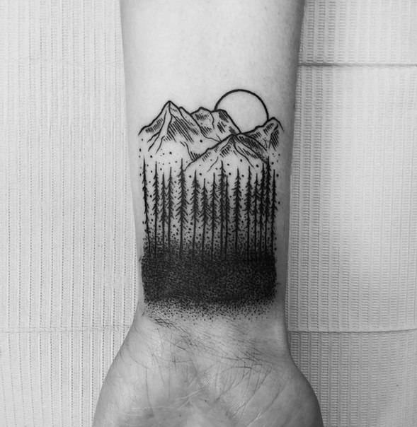 Best Mountain tattoo designs for male wrist