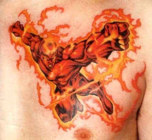 chest flash flame  tattoo for men ideas