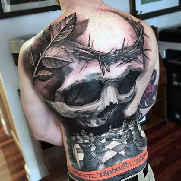 skull tattoo full back for guys
