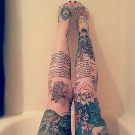 girl with octopus tattoo on legs