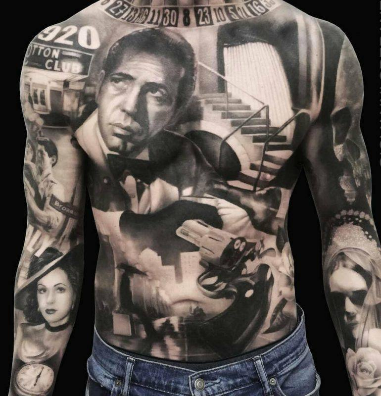 portrait  stomach tattoo