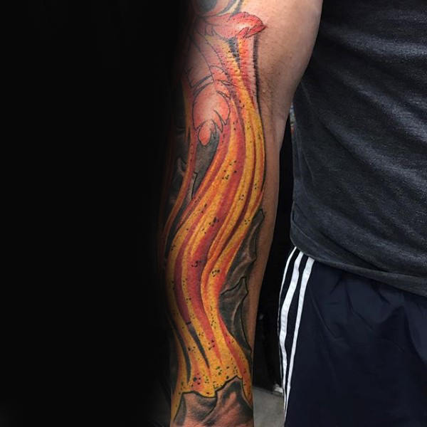 guys arm flame cover up tattoo