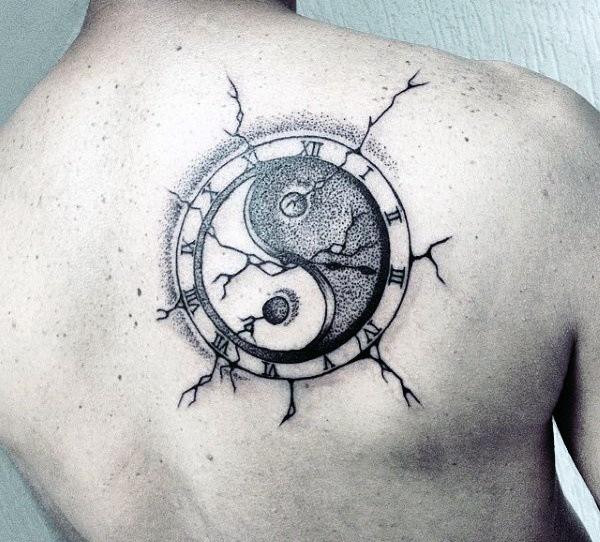 men back yin yang cover up tattoo