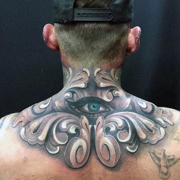 eye upper back shoulder tattoos for males
