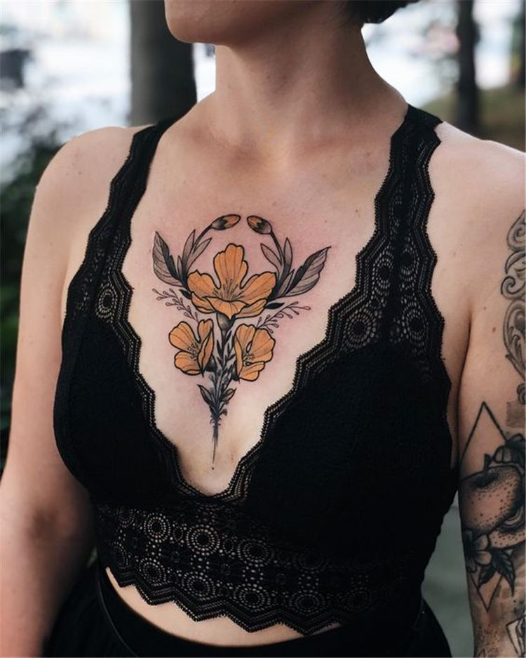 girl tattoo designs on chest