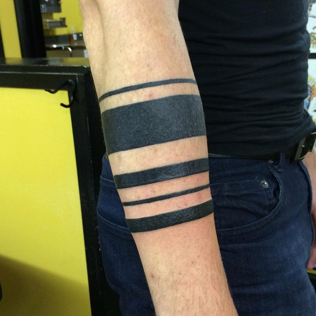 different lines mens armband tattoo ideas