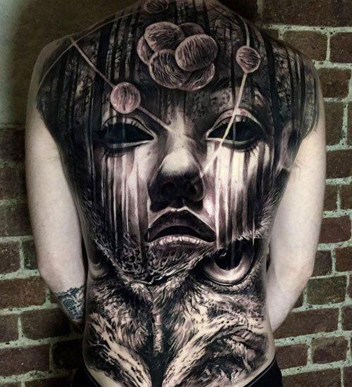 buddha full back tattoos male