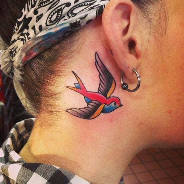 ladies bird tattoo behind ear design images