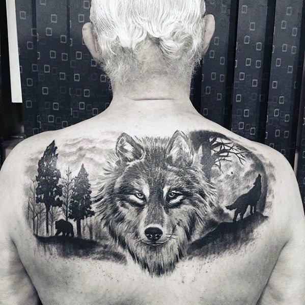 wolf back upper tattoos for men