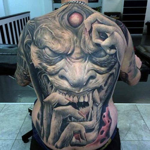 cool spine tattoos for guys dragon design