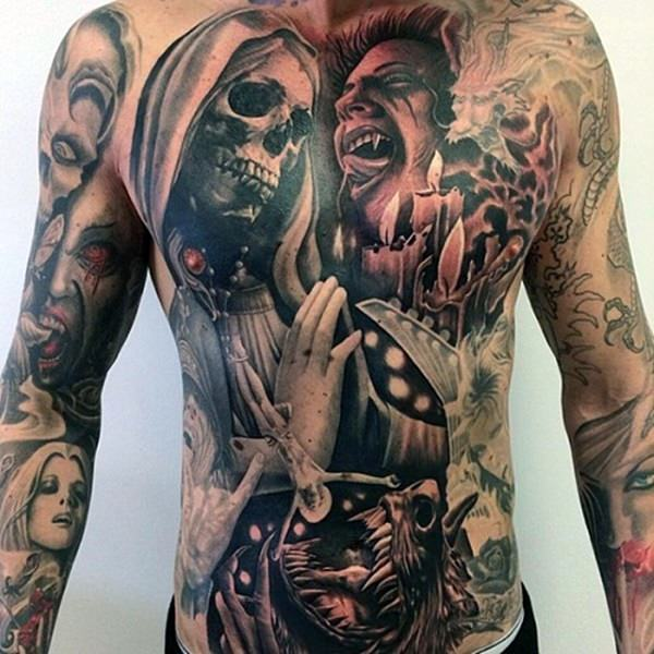 men cool full stomach tattoos