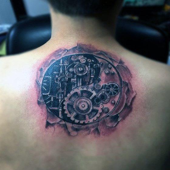 back mechanism yin and yang tattoo design