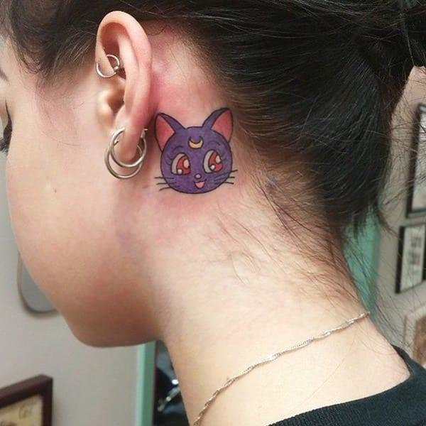 cat small tattoo ideas behind ear
