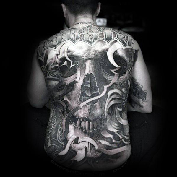 skull amazing full back tattoos for guys