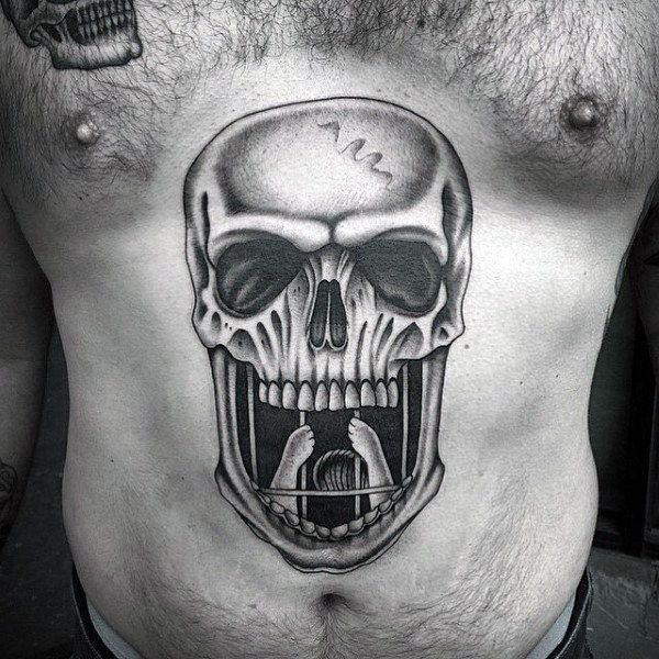 skull stomach cover up tattoos ideas