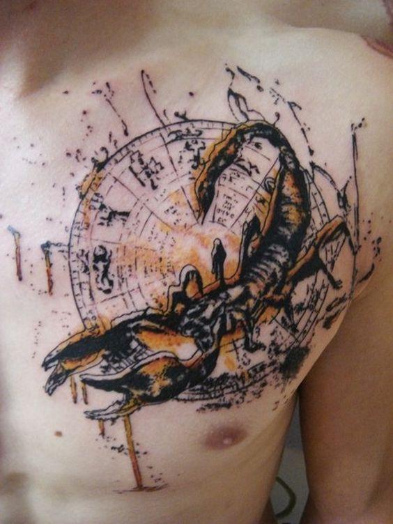 chest scorpio sign tattoo designs