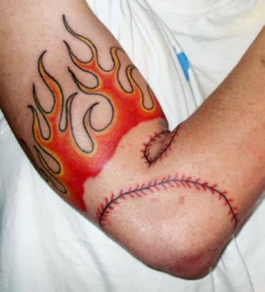 elbow flash flame tattoo images