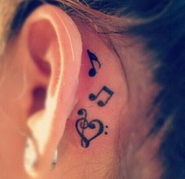 small music note tattoo behind ear design images