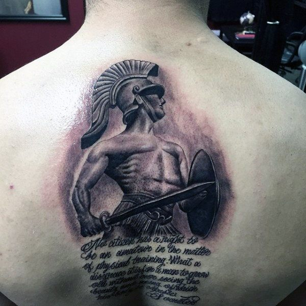 men gladiator sword tattoo ideas on back