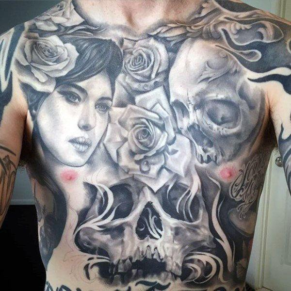 skull stomach tattoo