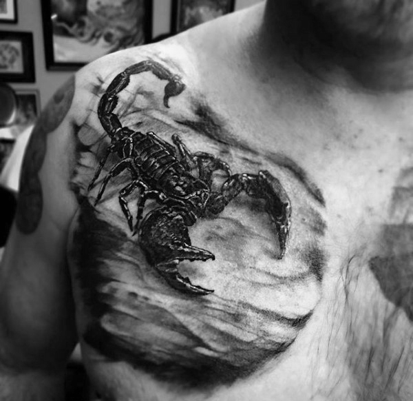 Mind Blowing Scorpion Tattoos Designs On Chest for men