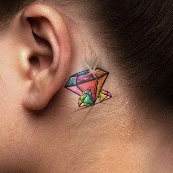diamond  tattoo behind ear design ideas for girls