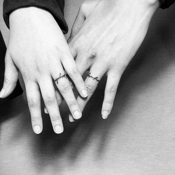 couple ring finger tattoo ideas