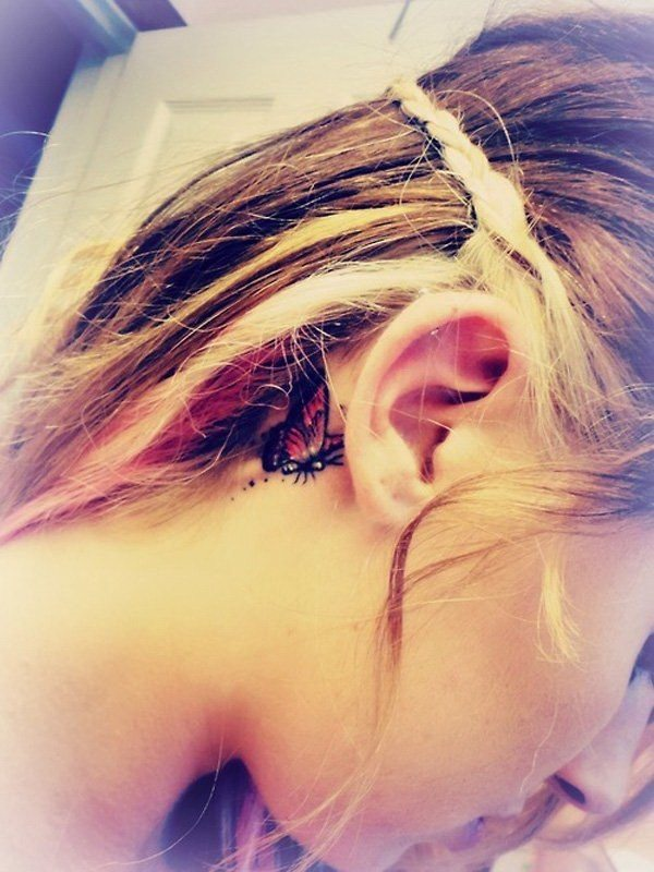 butterfly cute ear tattoo designs behind