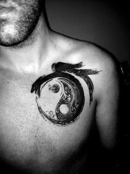 chest yin yang mountain ocean tattoo
