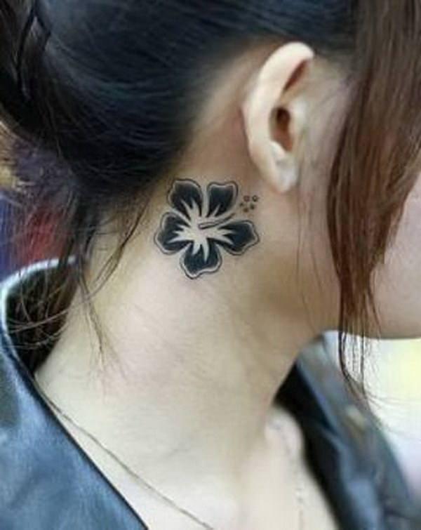 Cut flower pisces tattoo behind ear girls