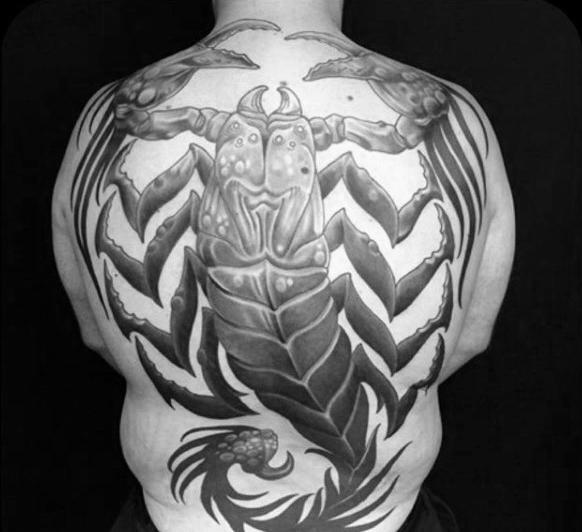 big scorpion tattoo on back of neck
