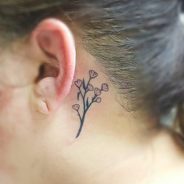 Cute flower Behind the Ear Tattoos for Women in 2021