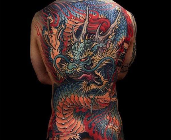 japanese colour dragon full  back tattoos for men